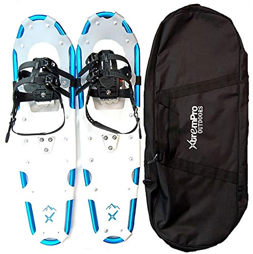 """Xtrempro Snowshoes Snow Terrain Lightweight Ergonomic Design Lightweight Aluminum Alloy with 13 Point Crampons 120/160/210/300 lbs. Capacity- 21'/25'/30""""/36' (Blue, 36)"""