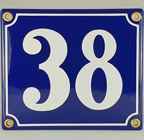 Emaille Schild Hausnummer 38 Blau-Weiß