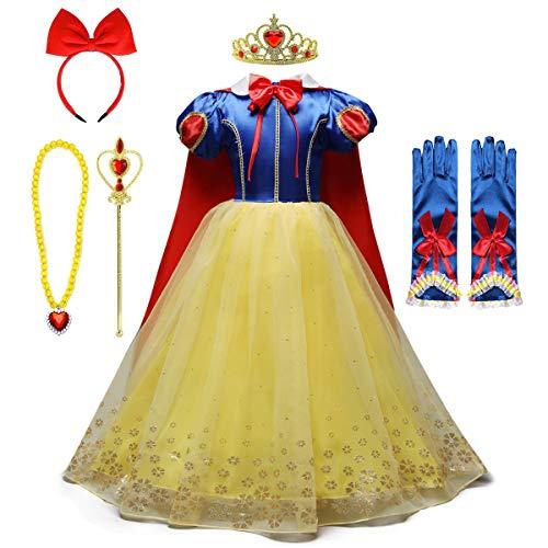 MYRISAM Costume da Biancaneve per Ragazza Principessa Carnevale Costumi Halloween Cosplay Natale Festa Cerimonia Compleanno Abiti Partito con Mantello Accessori 5-6 Anni