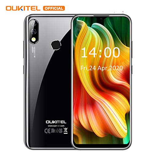 Smartphone ohne Vertrag, OUKITEL Y4800 4G Günstig Handy 6GB+128GB Speicher Android 9.0 Dual SIM Smartphones, 6.3 Zoll FHD+ Display, 48MP+16MP Schönheit Kameras Fingerabdruck/Face ID,4000mAh-Schwarz