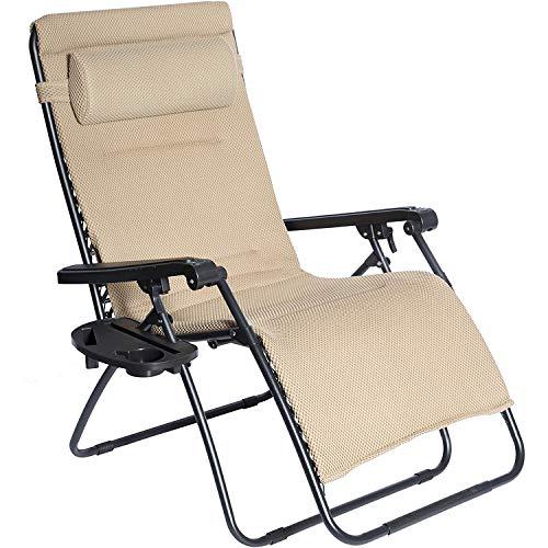 ZRXRY Übergröße XL Padded Zero Gravity Mesh-Lounge Chair Beige Breitere Armlehne Verstellbare Lehnstuhl mit Becherhalter, Unterstützung 350 LBS