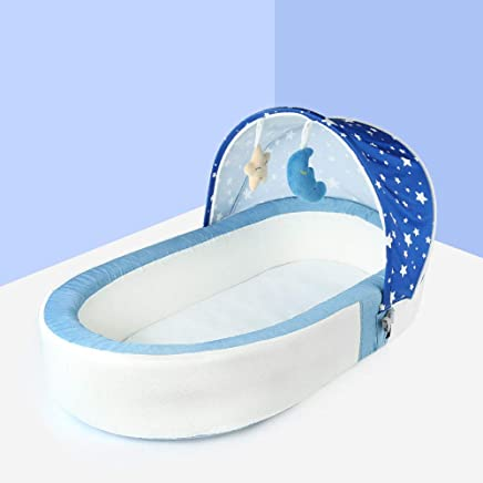YANGGUANGBAOBEI Travel Crib Luxe Travel Tent Including Sleeping Mat with Removable Breathable Cover Suitable From 0-24 Months Blue