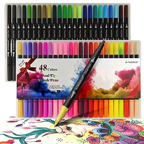 Filzstifte, 48 Farben Brush Pen Set,Marker & Filzstifte kinder ,Bullet Journal Stifte mit 1-2mm Fasermaler und 0.4mm Fineliner, Pinselstifte Aquarell zum Zeichnen und Schreiben,Das ideale Geschenk