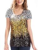 MANER Women's Full Sequin Tops Short Sleeve Sparkle Shirt Shimmer Glitter Party Blouses. (Silver/Gold/Black, S/US 4-6)