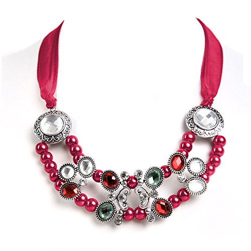 ALMBOCK Statement-Kette rosa - Dirndl Schmuck pink -Trachten Kette Damen perlen für Dirndl