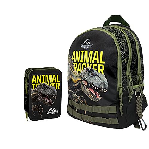 Jurassic World Schoolpack Schulrucksack mit 3 Reißverschlüssen und Federmäppchen mit 3 Reißverschlüssen, komplett mit Schreibwaren