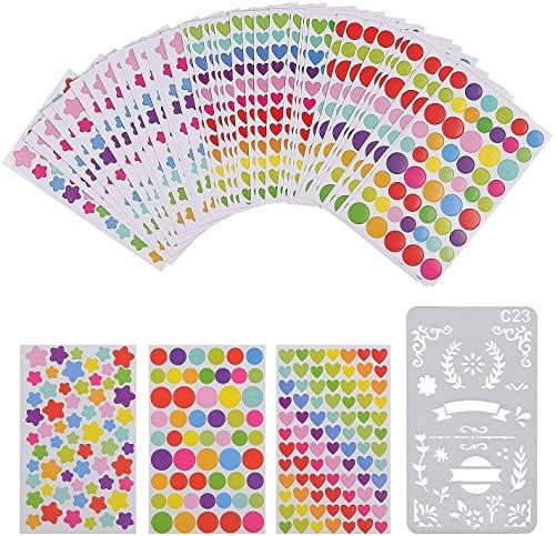 60 Blätter Aufkleber bunt selbstklebend Sticker Herzchensticker Herz Markierungspunkte für DIY Zubehörset Tagebuch Aufkleber Fotoalbum Basteln Notizbuch