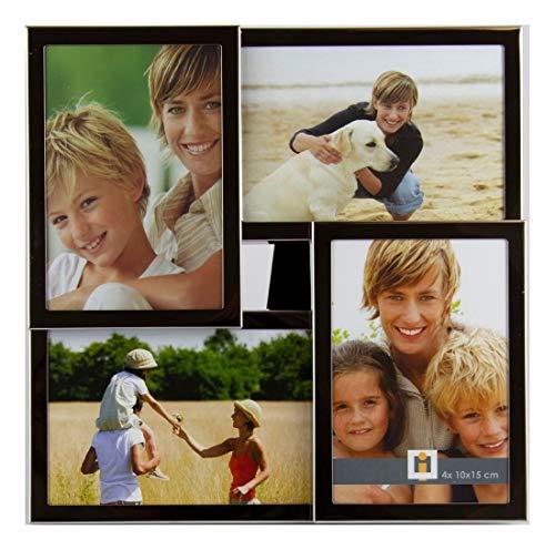 Intertrading Bilderrahmen Dallas passend für 4 Fotos 10x15 cm silberglänzend Tischrahmen Wandrahmen Collage