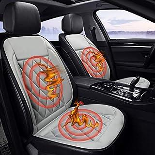 Zhangxia - Funda térmica para asiento de coche, 12 V, para invierno, caliente, asiento doble, color negro