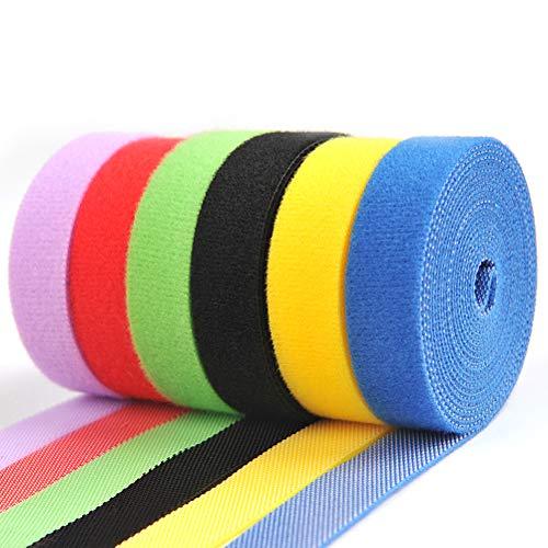 OFNMY Kabelbinder mit Klett Selbstklebend Klett Kabelbinder Wiederverwendbar Klettband Haken und Schlaufe Kabelklett 6 Farben (1.45 * 200cm)
