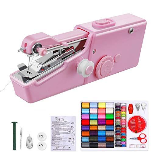 Mini Máquina de Coser Portatil con 70 piezas Bolsa de Coser - Eléctrica de Mano Máquina de Coser para Ropa de Tela, Cortinas, DIY Hogar y Uso de Viaje (rosa)