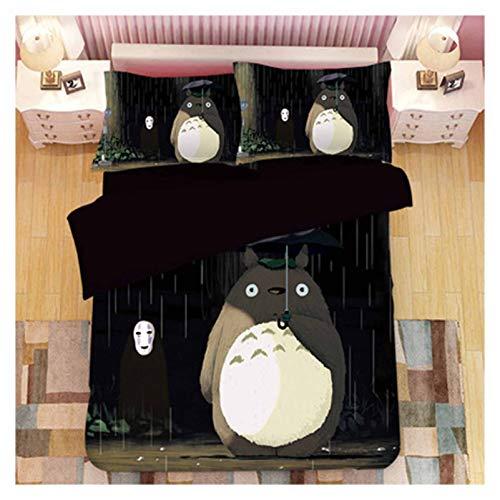 YRRA Juego de sábanas de 4 piezas de gato Totoro, sin arrugas, hipoalergénicas, juego de sábanas de cama, sábanas, fundas de almohada, tamaño King, grueso, cálido, tamaño pequeño, 160 x 210 cm