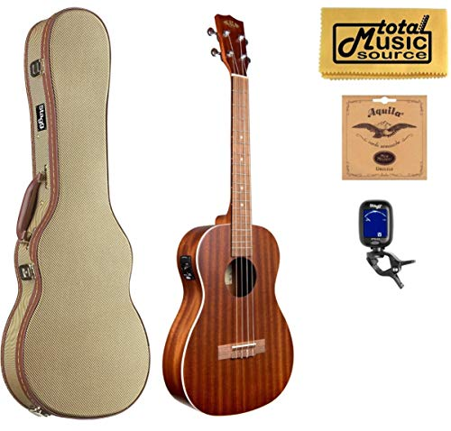 Kala KA-BE Mahogany A/E Baritone Ukulele,Satin Finish, w/Tweed Case Bundle