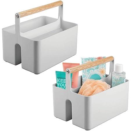 mDesign panier de rangement pour la salle de bain – boîte avec poignée pratique pour les cosmétiques – caisse de rangement transportable à 2 compartiments – gris et couleur naturelle