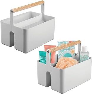 mDesign panier de rangement pour la salle de bain – boîte avec poignée pratique pour les cosmétiques – caisse de rangement...