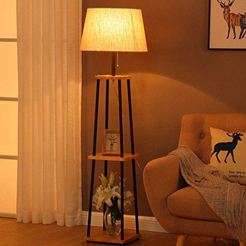 Good thing Lampadaire Lampadaire en bois massif, Lampes de table de salon Creative Home Coffee, Abat-jour en tissu, Lampe verticale de pêche, Lampes de plateau de table basse
