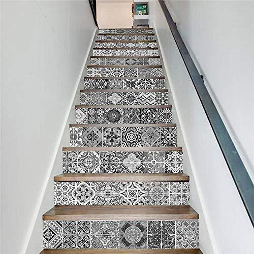 Pegatinas escaleras peldaños autoadhesivo 13 pcs, Renovación Impermeable Calcomanía arte DIY Regalo Pasos Molduras Actualización profesional vinilo, efecto de azulejo gris italiano