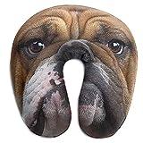 NAN TIAO Almohada Ultra Suave en Forma de U para Ver televisión y Dormir, Ligera y cómoda Almohada Linda con Cuello de Perro Bulldog Almohada de Viaje de Viaje, mentón