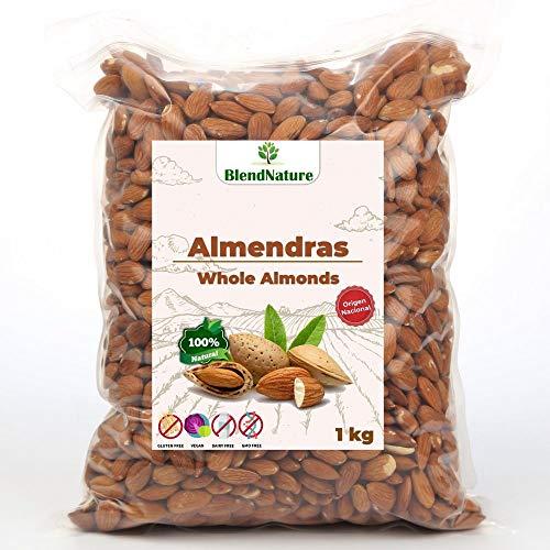 Almendras Crudas Peladas 1kg – Sin Sal Con Piel - 100 % Natural y Entera - de Origen Nacional mas Sabrosa – Calidad Premium - No Transgenica – Vegana.