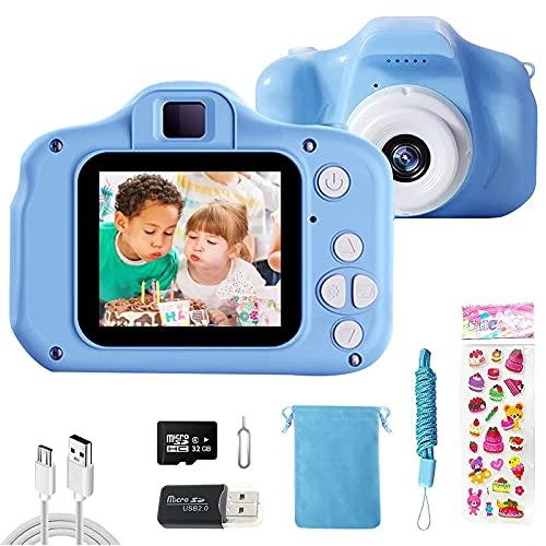 CHENAN Cámara Digital para Niños 1080P Cámara de Fotos para Niños Juguete Regalos Ideales para Niños Niñas de 3-10 Años con Tarjeta de Memoria Micro SD 32GB (Azul)