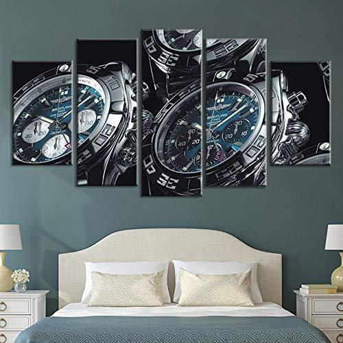 IOOIO Impresiones sobre Lienzo 5 Paneles Relojes Reloj de Pulsera Cuadro Lienzo No Tejido 5 Piezas Picture Painting HD Canvas Wall Art Decoración para El Hogar-125 * 60Cm-Enmarcado