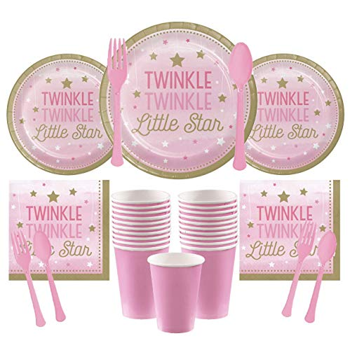 Twinkle Twinkle Little Star Pink Deluxe Party Supply Pack for 16 Guests - Large Plates, Small Plates, Napkins, Cups & Cutlery
