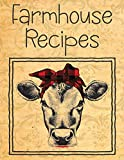 Farmhouse Recipes: Vintage Cow Blank Recipe Book For To Write In | Big Empty Two Page Custom Cook Book Journal