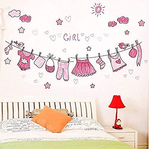 Decoración para el hogar Ropa de colgar papel pintado Decal Mural Arte de pared Niños Niños Bebé Niño Dormitorio Decoración Auto adhesivo Etiqueta de la pared Calcomanía 90 * 55 cm
