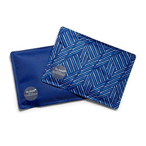 Fit + Fresh Soft Cool Coolers Ice Packs, Long Lasting Ice Packs for Lunch Bags, Picnic Baskets, Coolers, and More, Set of 2, Navy Sketch Weave & Blue