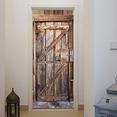 murimage Türtapete Holz Tür 86 x 200 cm inklusive Kleister Eingang Bretter Vintage Rustikal Tapete Fototapete