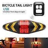 1 luz trasera de bicicleta LED con cable USB y mando a distancia inalámbrico, recargable e impermeable, intermitentes de seguridad para bicicleta de montaña y carretera.