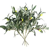Artificial Olive Plants Branches Fake Fruits Silk Plants Branch Leaves ndoor Outside Home Garden Office Verandah Decor (4 Pcs)