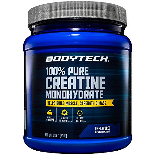 BodyTech 100 Pure Creatine Monohydrate Unflavored 5 GM/Serving Supports Muscle Strength Mass 18 Ounce Powder