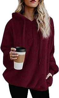 Zhhlaixing Women Fuzzy Fleece Pullover Teddy Bear Jacket - Sherpa Sweatshirts Fluffy Jackets Hoodie Drawstring Draped Pockets Tunic Oversize Tops