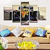 UIOJH Impresión 5 Piezas Cuadro En Lienzo Personalizado Modernos Murales Pared Póster Coche de Fórmula Uno F1 Modular Canvas Prints Oficina Salón Pared Decoracion Enmarcado 150x80cm