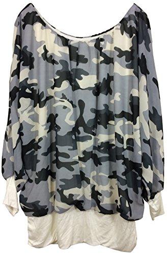 Vexcon Damen Tunika Bluse Camouflage Military Look, unterfüttert, Made IN Italy