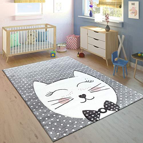 Paco Home Kinderteppich Kinderzimmer Konturenschnitt Gepunktet Grinsekatze Modern Grau,...