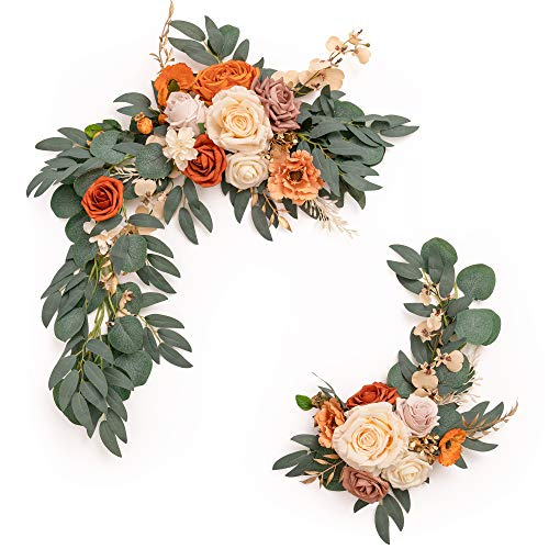 Ling's moment Artificial Flower Swag for Terracotta or Burnt Orange Wedding Ceremony Sign Floral Decoration - Pack of 2
