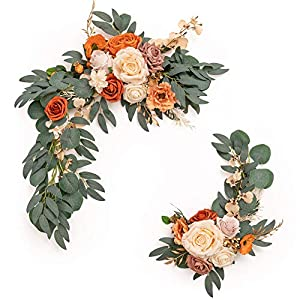 Silk Flower Arrangements Ling's moment Artificial Flower Swag for Terracotta or Burnt Orange Wedding Ceremony Sign Floral Decoration - Pack of 2