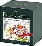 Faber-Castell 167150 - Estuche estudio con 60 rotuladores Pitt punta de pincel, multicolor