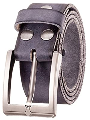 """Men's Genuine Leather Casual Dress Belt with Single Prong Buckle (1.5"""" Width)"""