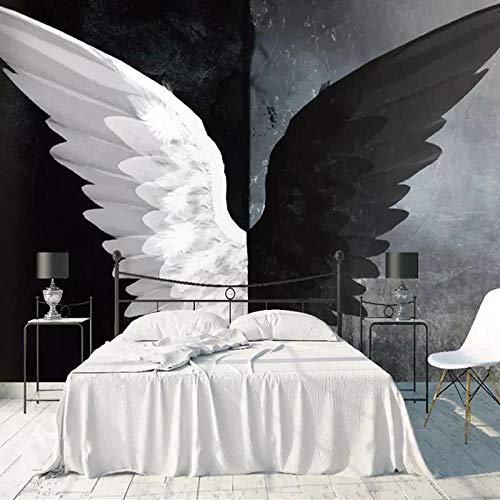 Fotobehang Moderne Creatieve Zwarte Witte Engel Vleugels Non-Woven Premium Art Print Fleece Muurschildering Poster voor Woonkamer TV Achtergrond Muur 157.48x110.23 inch