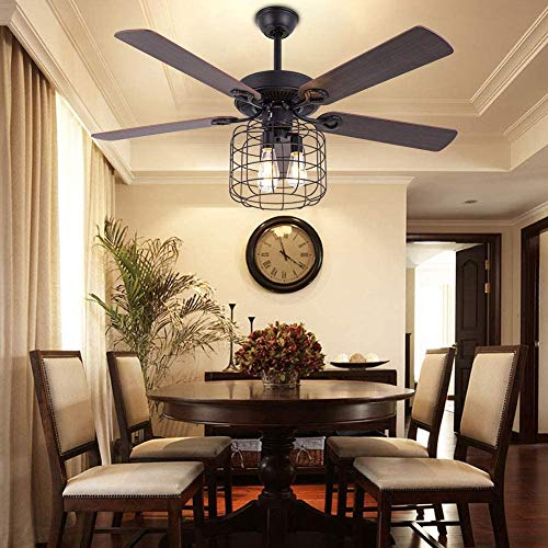 52 Inch Modern Ceiling Fan with Light Ceiling Fan Chandelier with Remote Control 3 Speed Reverse Function without Light Source E26 Suitable for Living Room, Bedroom, Dining Room