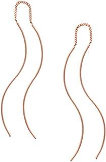 Silver RoseGold lightweight Double Linear Curved Tassel Threader Drop Dangle Earrings for women girls Jewelry Gift