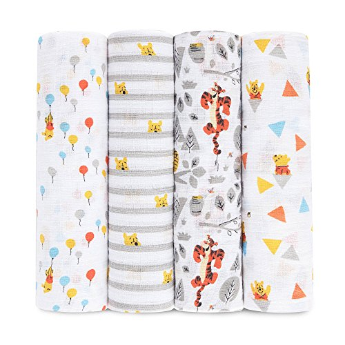 aden + anais Disney Swaddle Blanket, Boutique Muslin Blankets for Girls & Boys, Baby Receiving Swaddles, Ideal Newborn & Infant Swaddling Set, 4 Pack, Winnie The Pooh