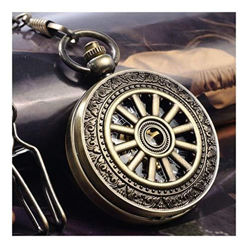 Reloj de bolsillo elegante clásico.Reloj de bolsillo de rueda mecánica - retro a cielo abierto tallado alumno collar de estudiante mesa de regalo de cumpleaños a escala romana, mesa antigua ,Punk