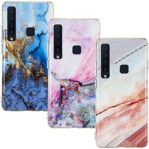 CLM-Tech Hülle 3X kompatibel mit Samsung Galaxy A9 2018, TPU Silikon-Hülle Hülle Schutzhülle Handyhülle 3er Set, Marmor blau Mehrfarbig