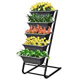 4FT Vertical Garden Freestanding Elevated Planter with 5 Container Boxes Outdoor Elevated Raised Bed