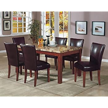 Amazon Com 7pcs Granite Top Dining Table 6 Brown Parson Chairs Set Home Kitchen