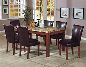 granite top dining table 7PCS Granite Top Dining Table & 6 Brown Parson Chairs Set Don  granite top dining table